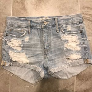 High waisted jean distressed shorts